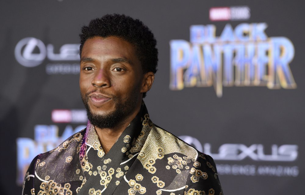 """Chadwick Boseman, a cast member in """"Black Panther,"""" poses at the Jan. 29, 2018, premiere of the film in Los Angeles."""
