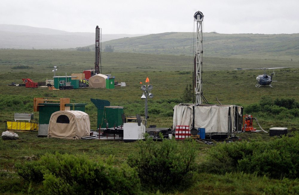 Workers with the Pebble Mine project test drill in the Bristol Bay region of Alaska, near the village of Iliamma, in 2007.