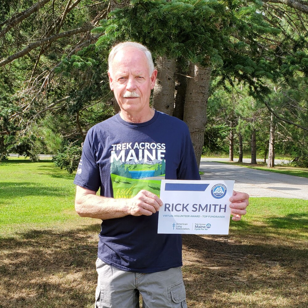 Rick Smith of Skowhegan recently was awarded the first Trek Across Maine Virtual Volunteer Award.