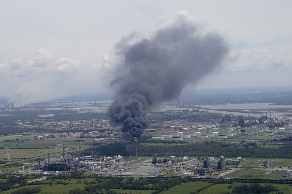 A chemical fire burns at the BioLab chlorine facility during the aftermath of Hurricane Laura on Thursday near Lake Charles, La.