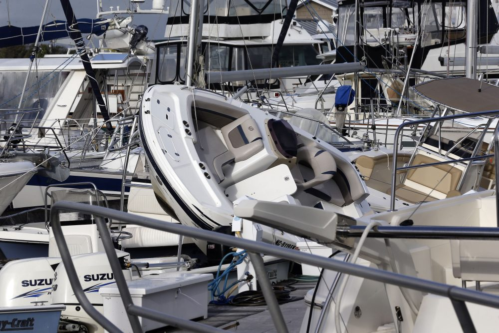 Boats are piled on each other at Southport Marina in the wake of Hurricane Isaias in Southport, N.C., on Tuesday.