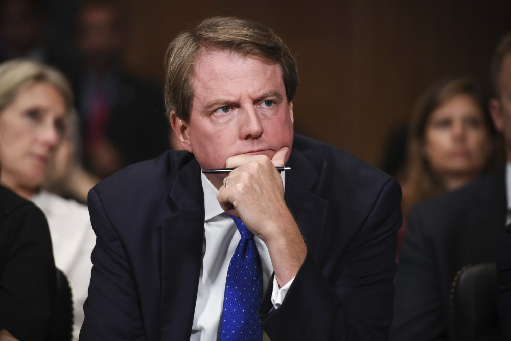 A federal appeals court panel on Monday again threw out a lawsuit by House Democrats to compel former White House counsel Don McGahn, shown in 2018, to appear before a congressional committee.