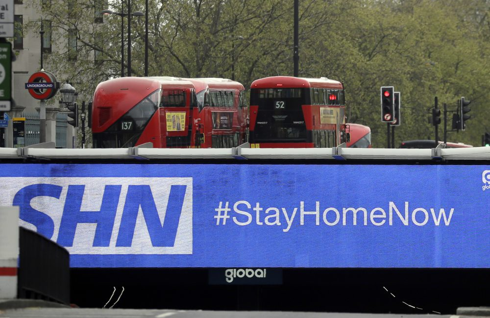 "A sign above an underpass in London advises drivers to stay at home According to a recent study in the U.K., younger adults, women or disabled people were the ""most likely"" to experience some form of depression during the pandemic."