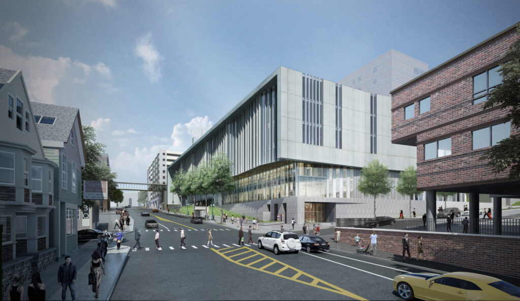 A rendering that depicts the view of Congress and Gilman streets in Portland once Maine Medical Center's Congress Street Tower is complete.