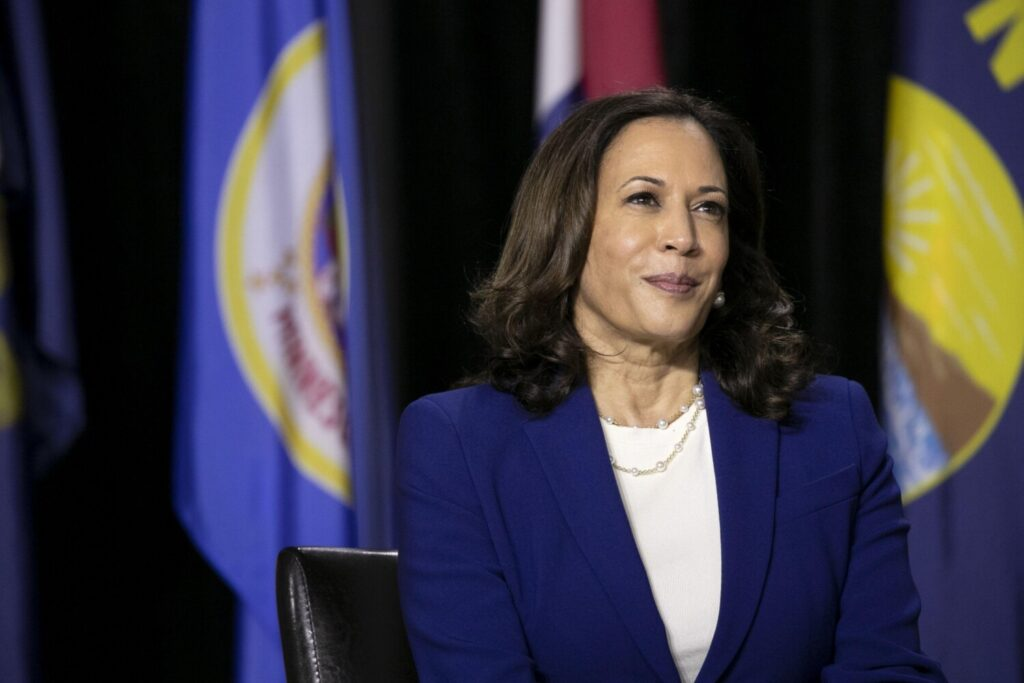 Sen. Kamala Harris of California, the presumptive Democratic vice presidential nominee, listens during a campaign event in Wilmington, Del., on Wednesday.
