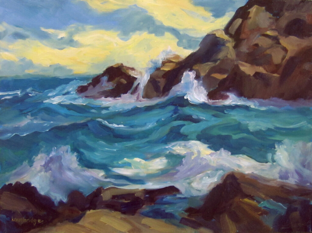 Storm Remnant, oil on Gessobord by Sally Loughridge.