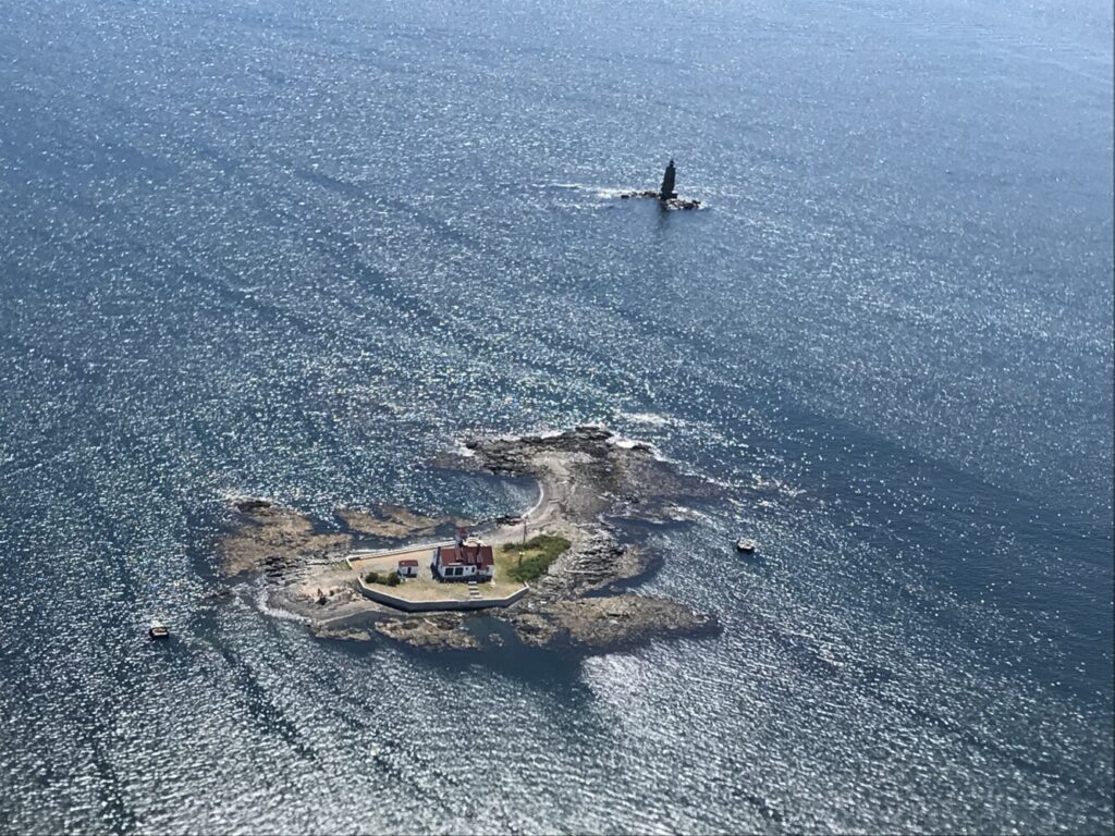 Wood Island at the mouth of the Piscataqua River as seen by Maine Marine Patrol Pilot Steve Ingram, participated in a search of the area near the island for Portsmouth, New Hampshire, resident Dan Vardell Jr.