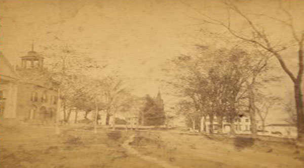 Courthouse and Congressional church in Wiscasset, photo taken probably in the 1860s.