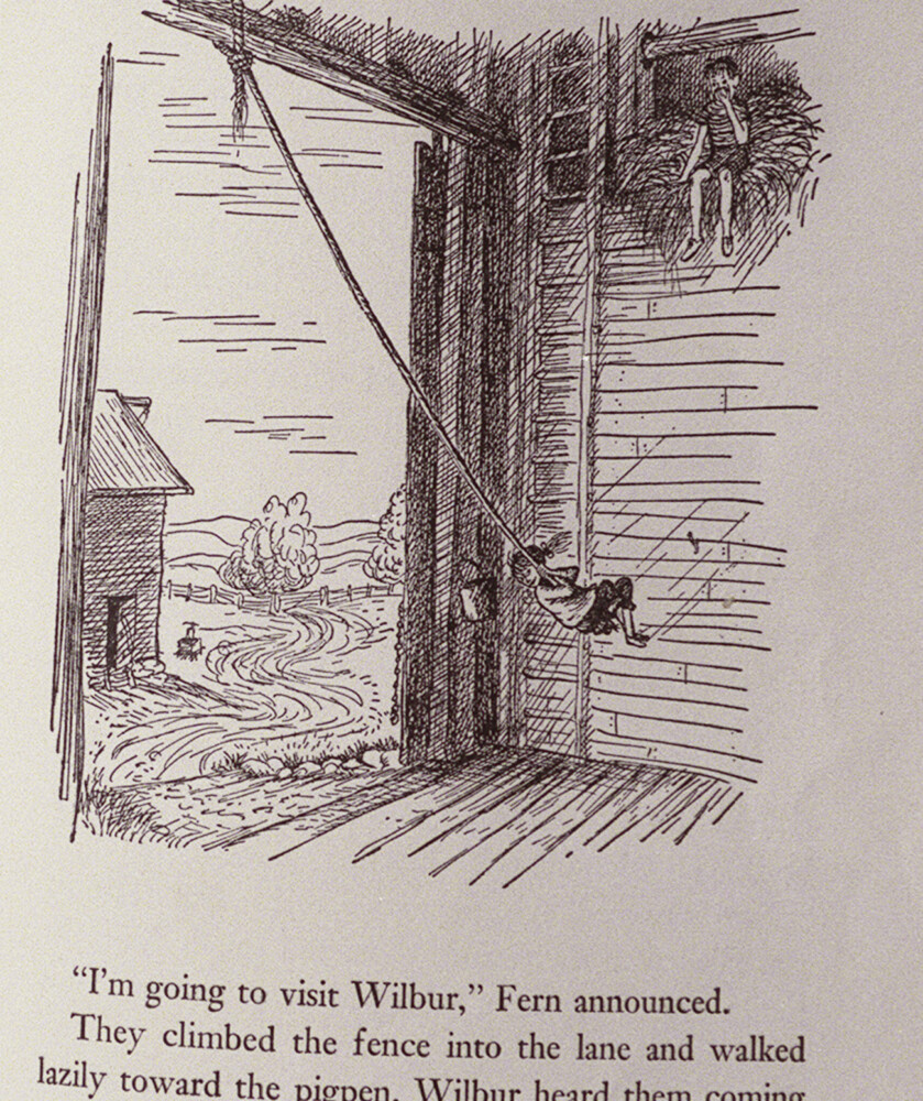 A page from E.B. White's Charlotte's Web photographed in 2001