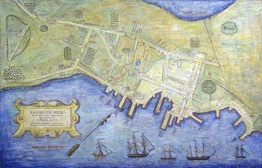 Falmouth Neck as it was when destroyed by Lt. Henry Mowatt in 1775.   MeBi  MHS 16128