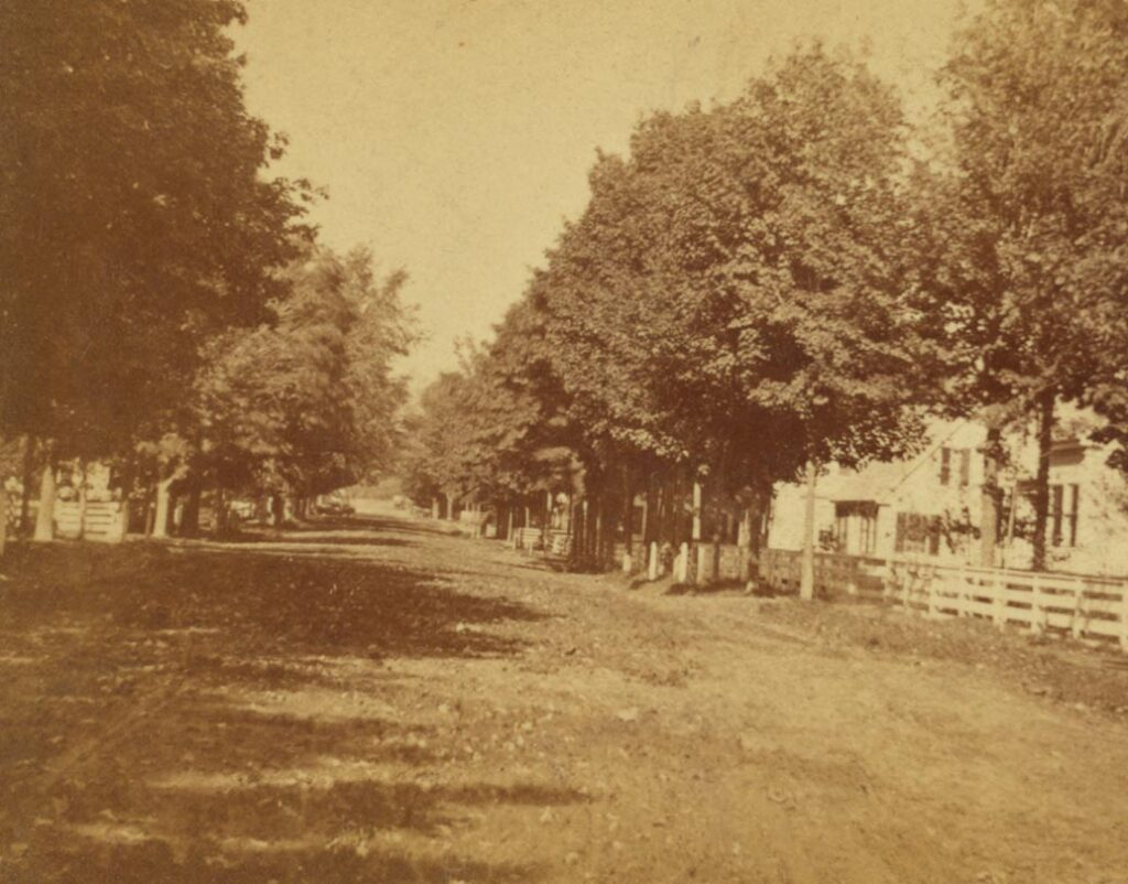 Main Street of Farmington, looking north. Photo taken after 1850.