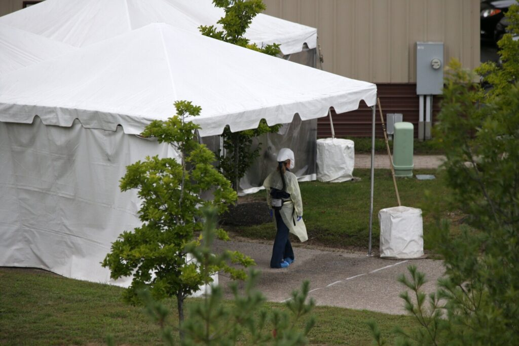 A drive-up COVID-19 testing facility was set up at Northern Light Mercy Hospital's Fore River Campus in Portland on Wednesday. Maine's three largest health care systems say they won't cut back on COVID-19 testing despite federal guidance last week that they may want to do so.