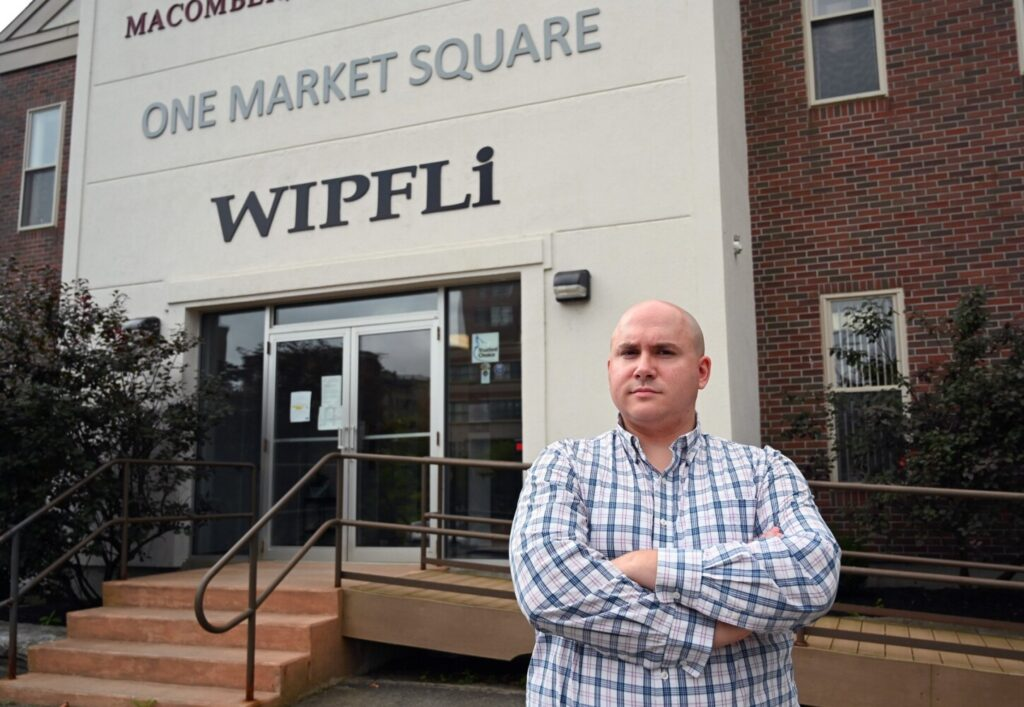 Senior Tax Manager Mike Santo outside Wipfli in Augusta on Wednesday. Accountants say the rules for filing state income taxes are unclear as they apply to residents working in another state because of the coronavirus pandemic.