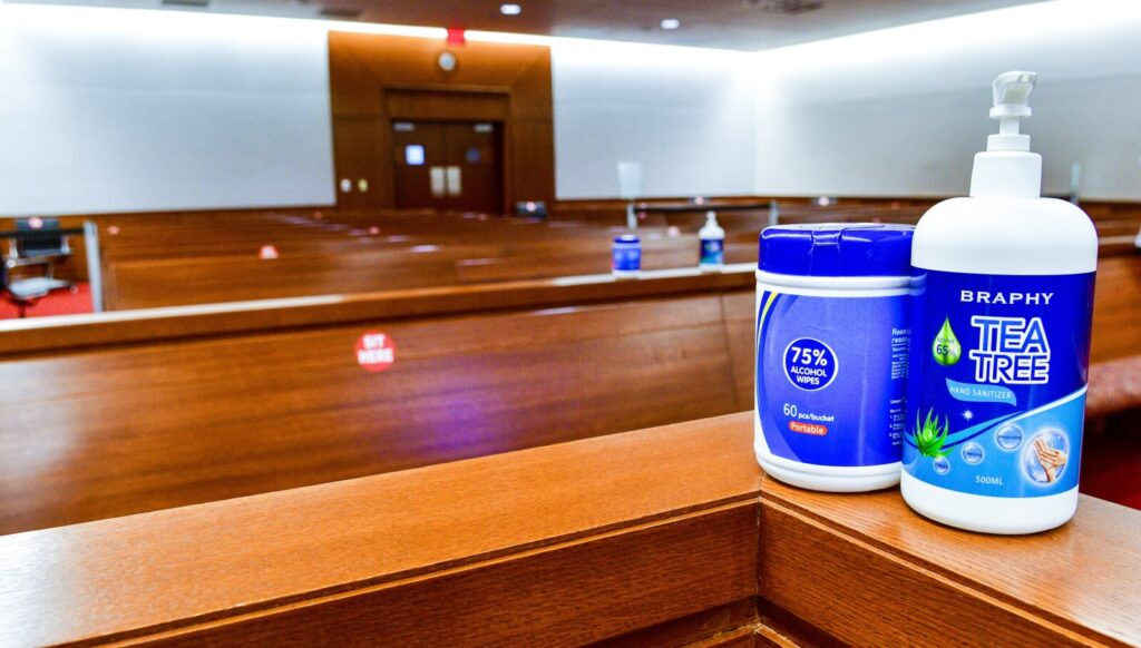 Wipes and hand sanitizer are in the courtroom 3 jury box in the Capital Judicial Center in Augusta. Supplies of sanitizer are all around the courtroom in preparation for the first jury trials during the pandemic.