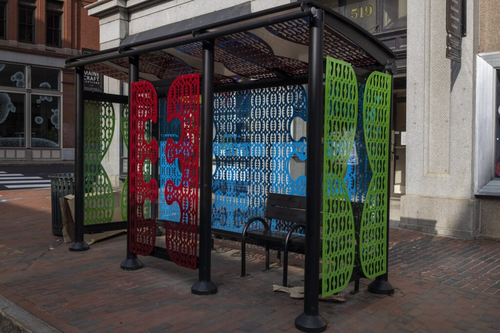 """The """"Hope & Friendship"""" bus stop by artist Ebenezer Akakpo on Congress St. in Portland."""