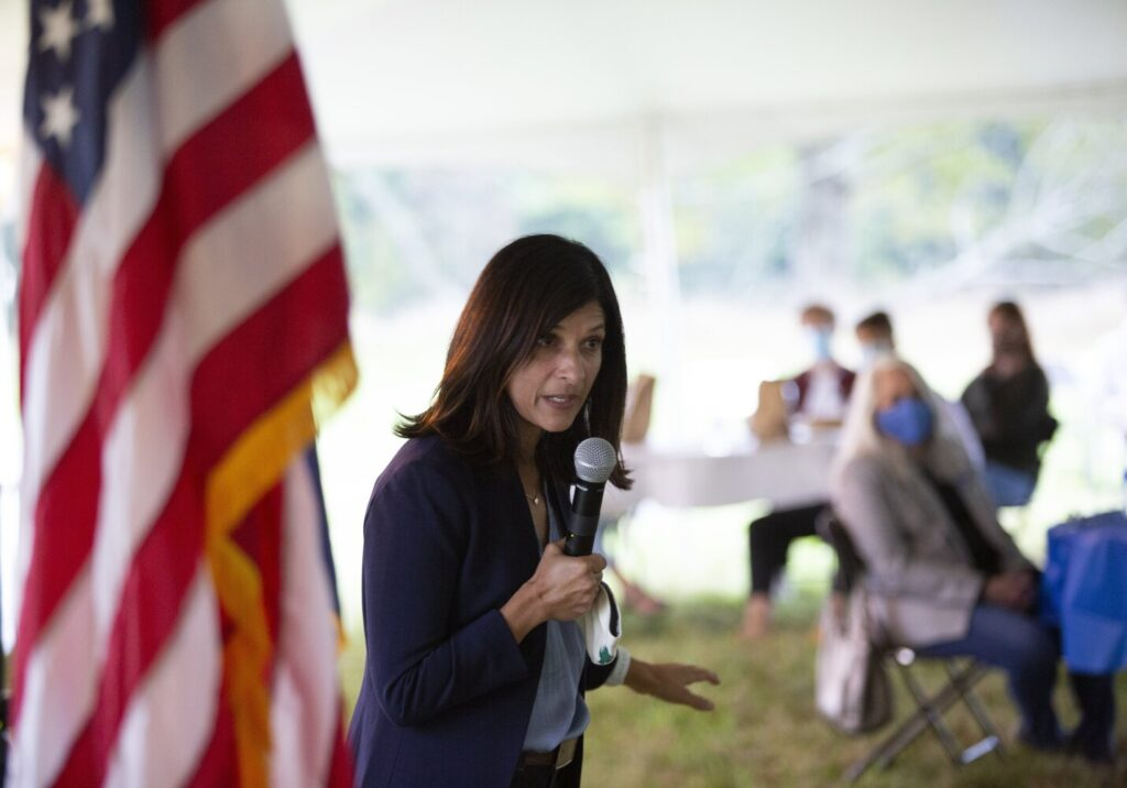 Democratic U.S. Senate candidate Sara Gideon speaks at a campaign event at Crystal Spring Farm on Thursday, Sept. 17.