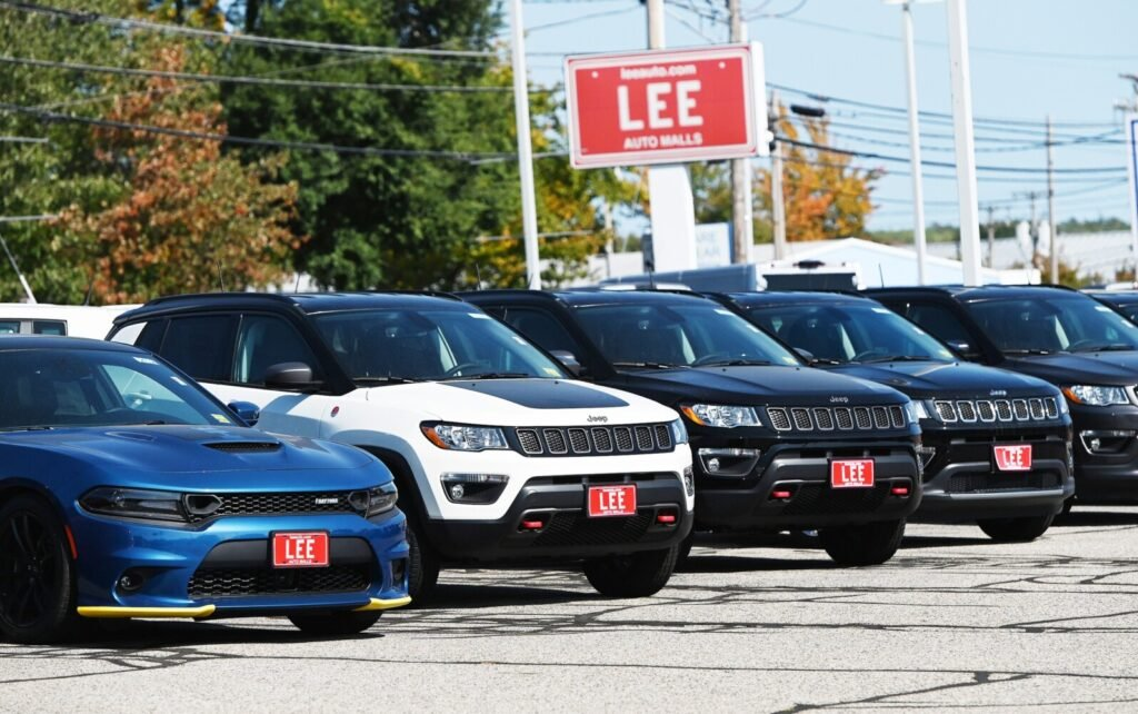 Lee Auto Malls in Westbrook on Friday. New-car inventories are down in Maine as a result of factory shutdowns in the spring caused by the coronavirus pandemic.