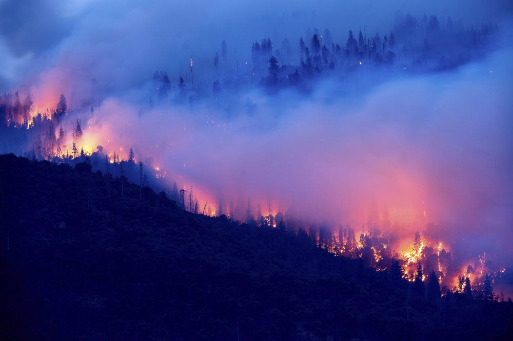 The Creek Fire burns along a hillside in the Cascadel Woods community of Madera County, Calif., on Monday. (AP Photo/Noah Berger)