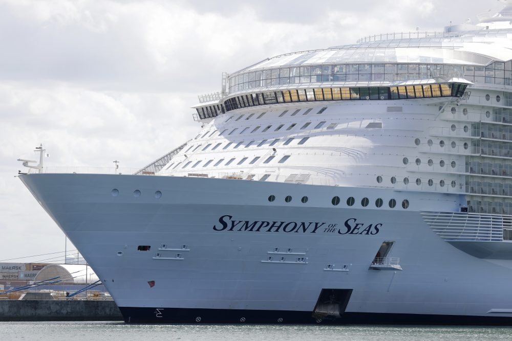 The Symphony of the Seas sits docked in Miami in May.