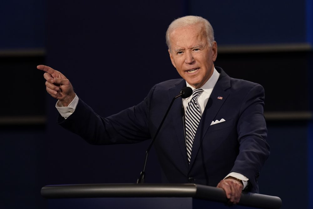 Democratic presidential candidate former Vice President Joe Biden speaks during the first presidential debate Tuesday at Case Western University and Cleveland Clinic, in Cleveland, Ohio.