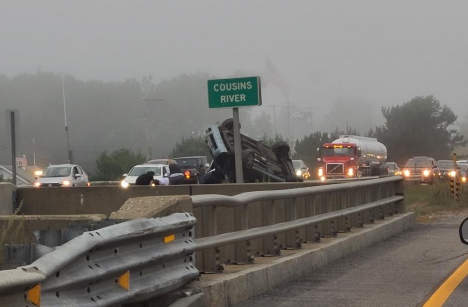 A car came to rest on the median of Interstate 295 in Yarmouth in an accident Tuesday afternoon.