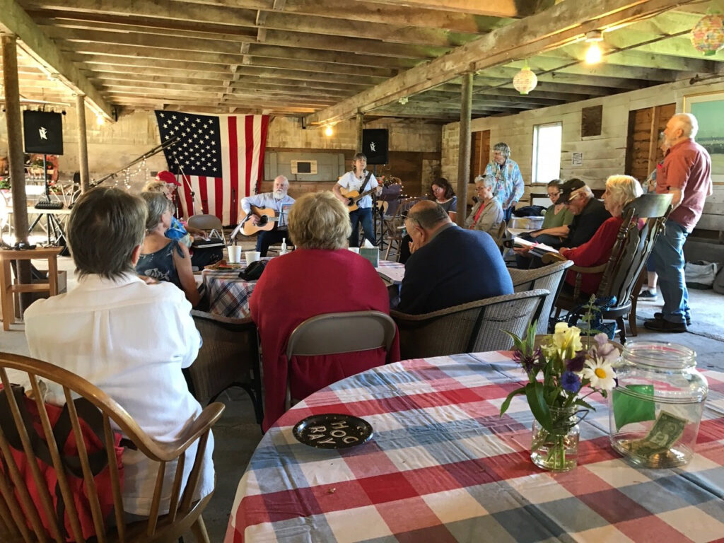 Inn Along the Way's singing circle in the barn during spring 2019 in Damariscotta.