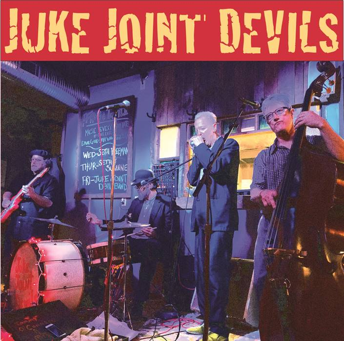Juke Joint Devils band from left are Steve Lynnworth - guitar, Mark S. Horn - drums, Tommy O'Connell - blues harp and vocals, and Andy Buckland - upright bass.