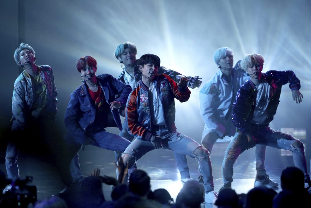 """BTS performs """"DNA"""" at the American Music Awards in Los Angeles on Nov. 19, 2017."""