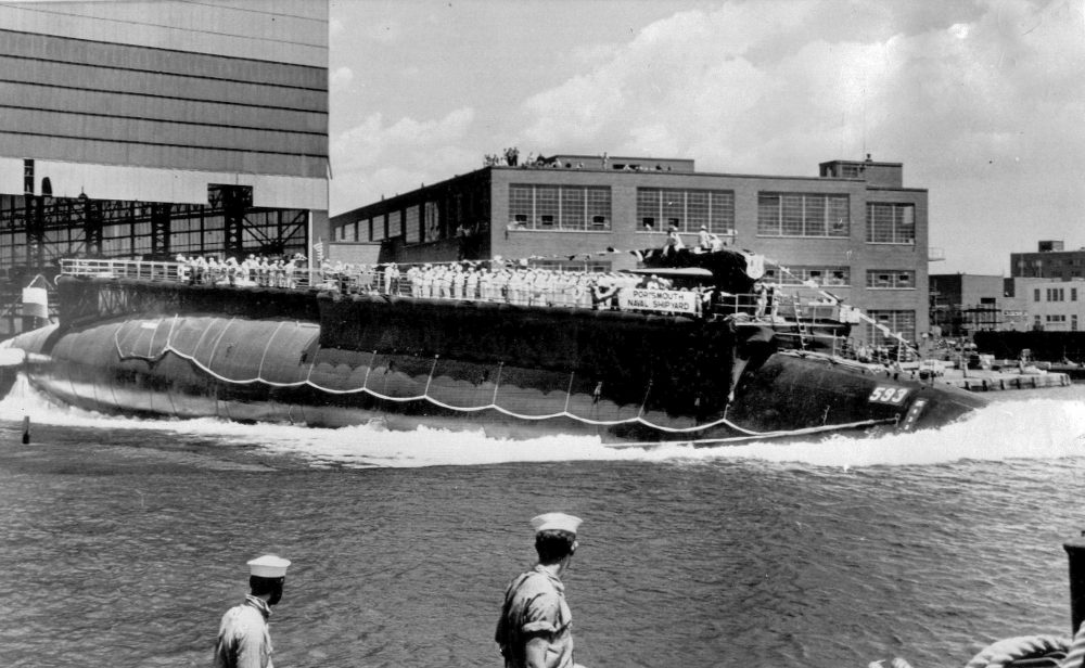 The U.S. Navy nuclear-powered attack submarine USS Thresher is launched bow-first at the Portsmouth Naval Shipyard in Kittery on July 9, 1960. Documents pertaining to the sinking of the Thresher 57 years ago were made public on Wednesday.