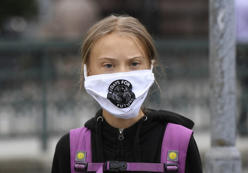 Swedish climate activist Greta Thunberg protests in front of the Swedish Parliament Riksdagen, in Stockholm, Friday Sept. 4.