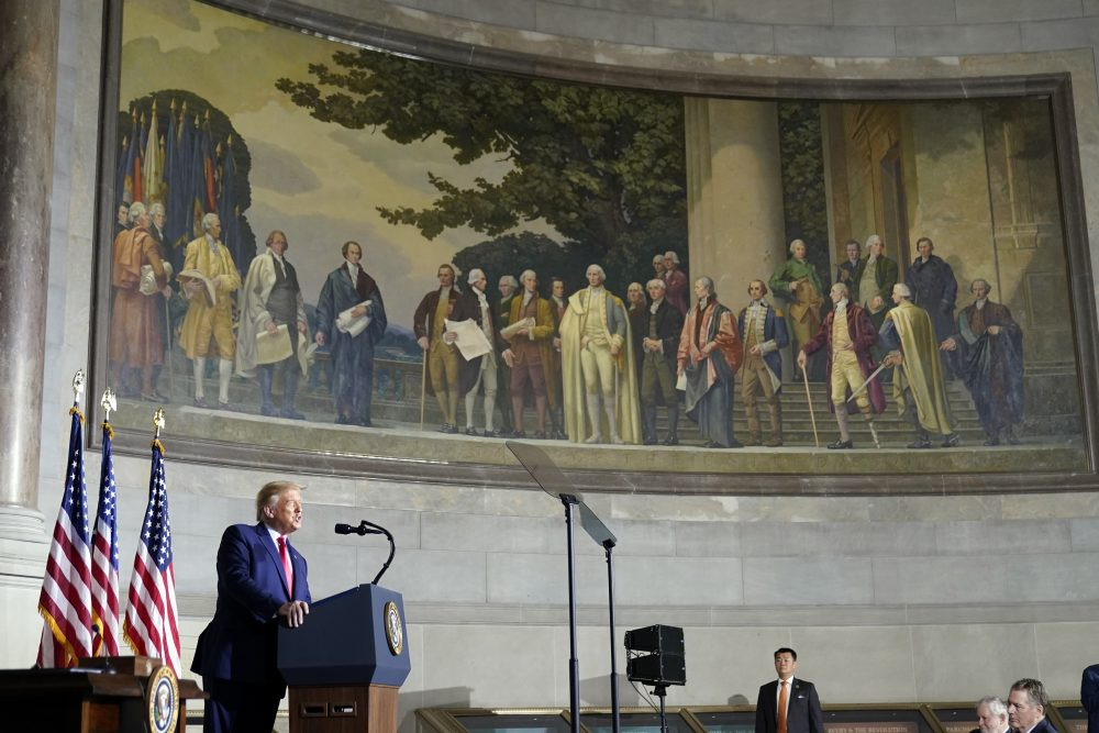 President Trump speaks to the White House conference on American History at the National Archives museum, Thursday in Washington.