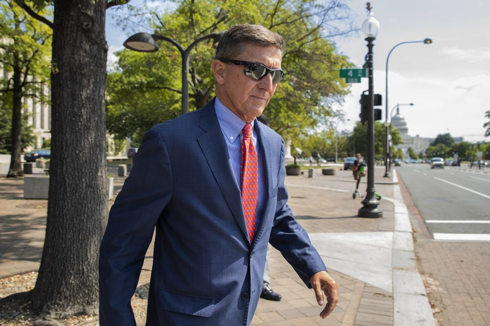 Michael Flynn, President Trump's former national security adviser, leaves court following a status conference in Washington last September. Flynn was the highest-ranking Trump adviser charged in special counsel Robert Mueller's Russia investigation.