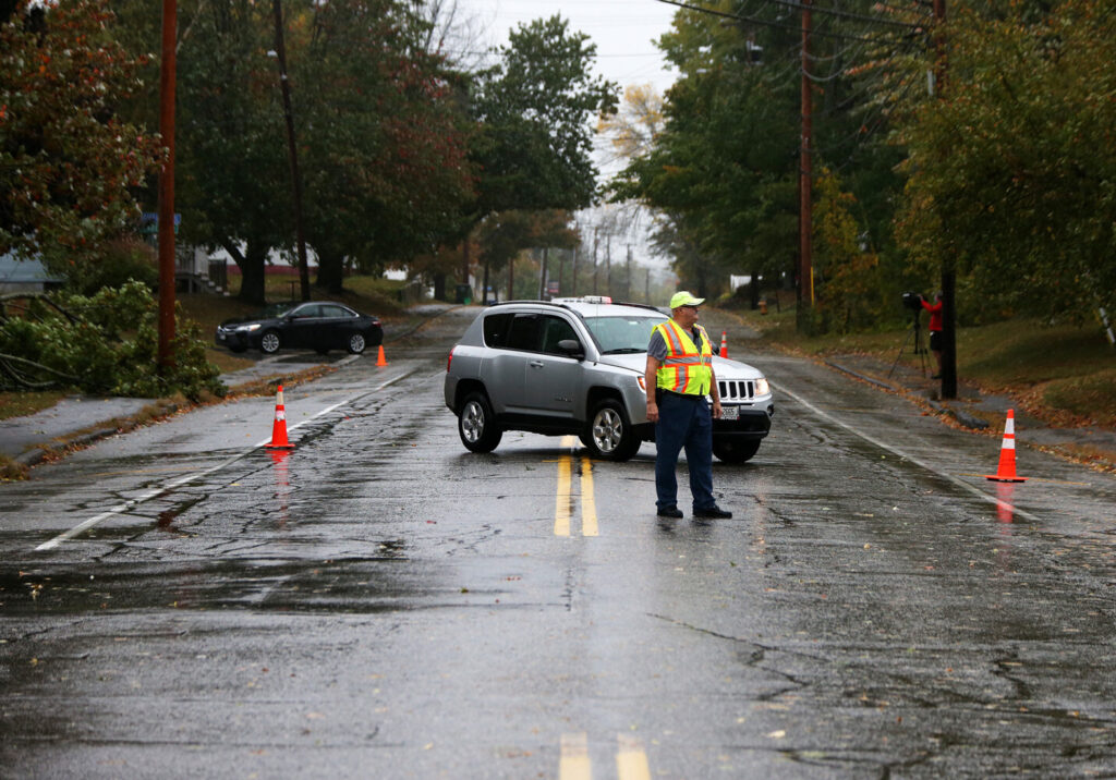 A downed power line prompted the closure of a portion of Saco Street in Westbrook near Saccarappa School on Wednesday.