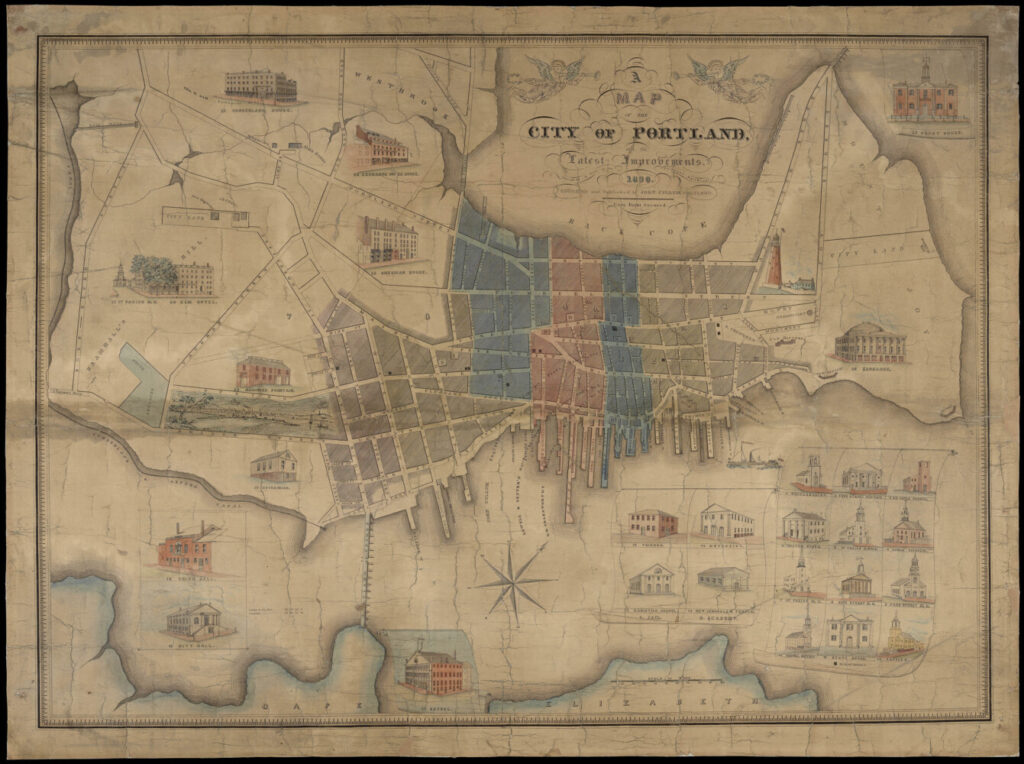 "This 1836 map of Portland is one contribution the Osher Map Library made to the ""Mapping A World of Cities"" online exhibit."