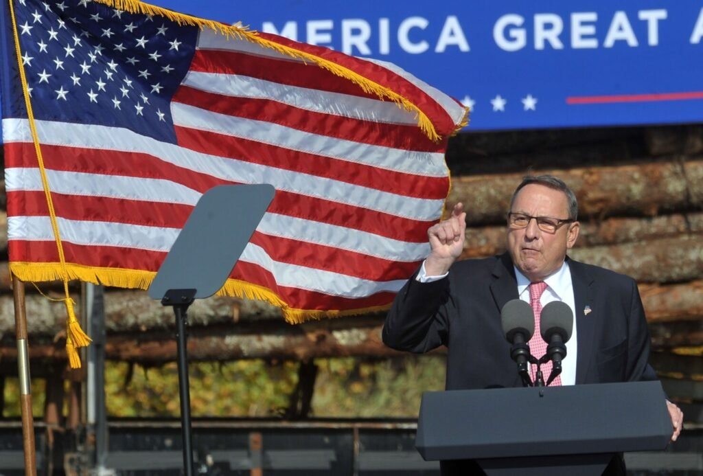 Paul LePage, former governor of Maine, speaks during Vice President Mike Pence's rally at Dysart's in Hermon in October 2020.