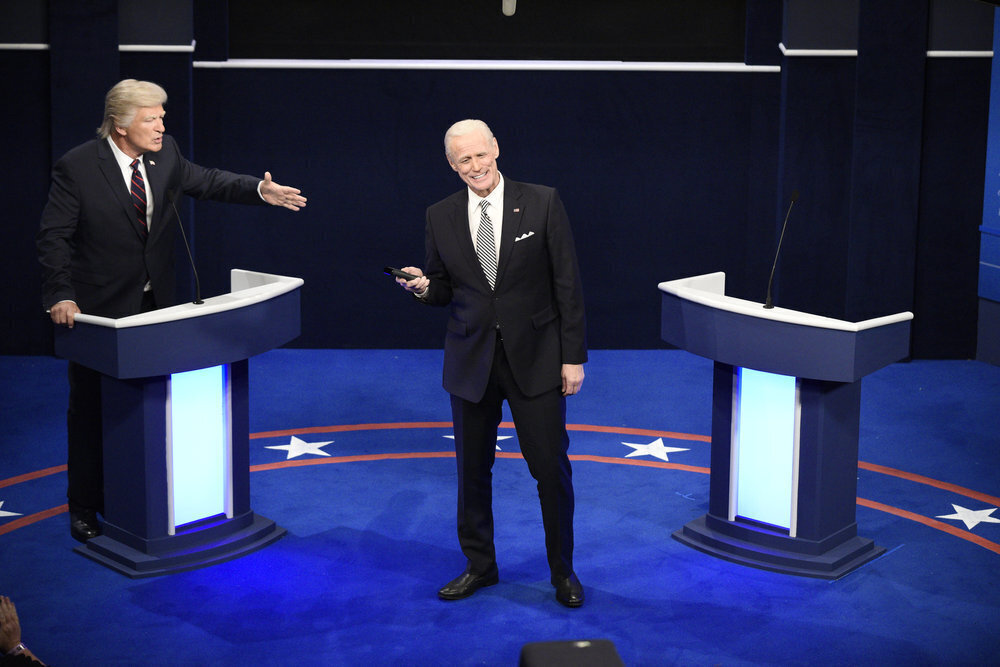 "Alec Baldwin as President Trump, left, and Jim Carrey as Joe Biden during the ""First Debate"" Cold Open on ""Saturday Night Live."""