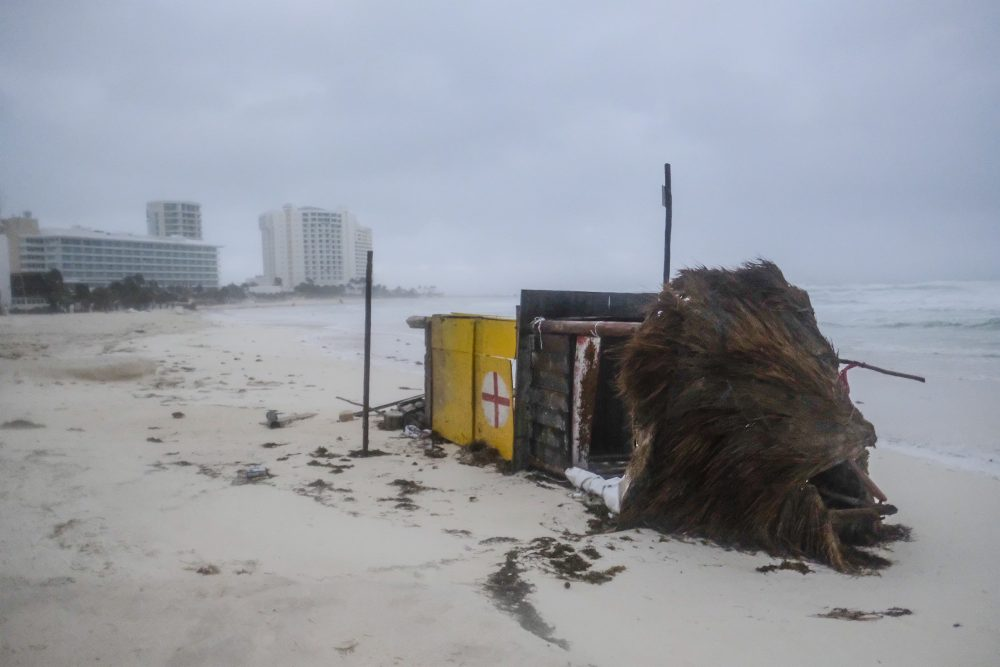 A lifeguard tower lays on its side after it was toppled over by Hurricane Delta in Cancun, Mexico, early Wednesday. Hurricane Delta made landfall Wednesday just south of the Mexican resort of Cancun as a Category 2 storm, downing trees and knocking out power to some resorts along the northeastern coast of the Yucatan Peninsula.