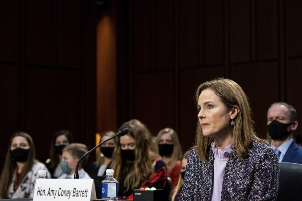 Supreme Court nominee Amy Coney Barrett listens during a confirmation hearing before the Senate Judiciary Committee, on Wednesday on Capitol Hill in Washington.