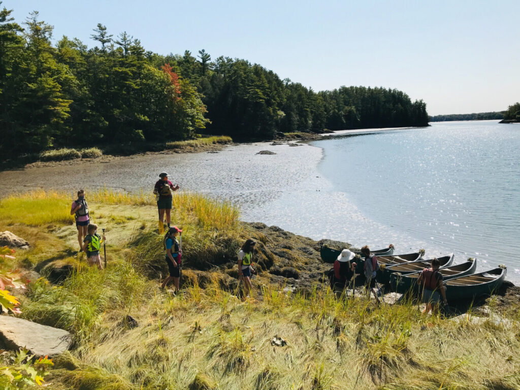 A group of students prepares for an afternoon science class. This day was a hands-on exploration of the Montsweag Brook estuary.