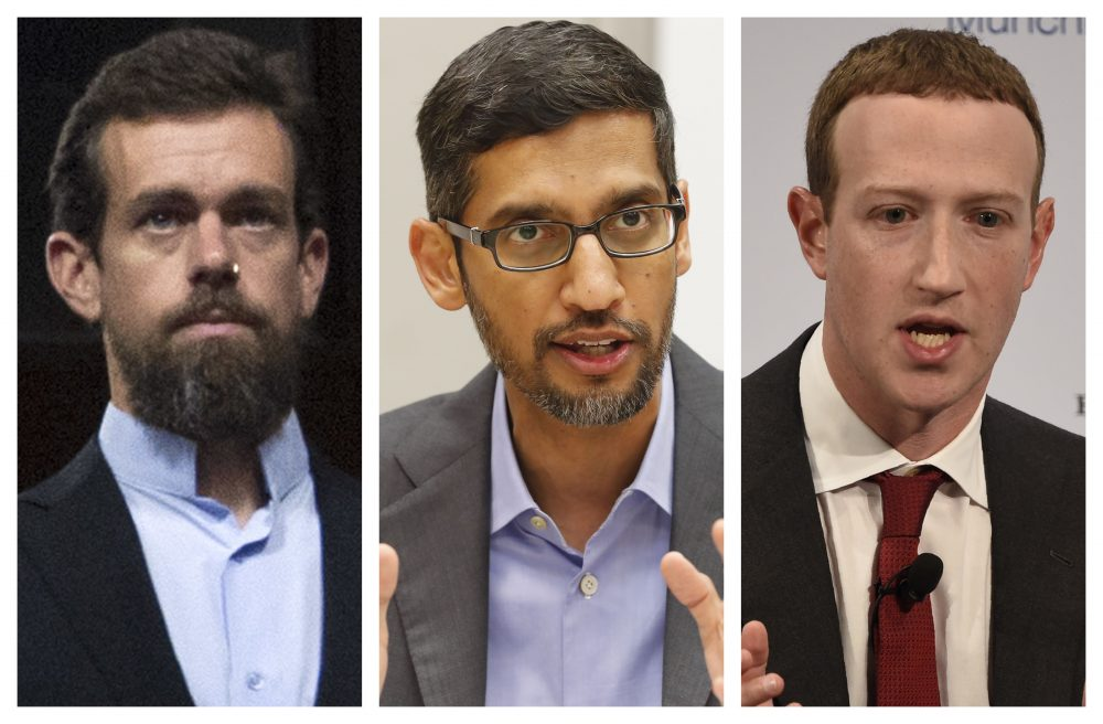 From left, Twitter CEO Jack Dorsey, Google CEO Sundar Pichai, and Facebook CEO Mark Zuckerberg have agreed to appear remotely before the Senate Commerce Committee after being threatened with subpoenas.