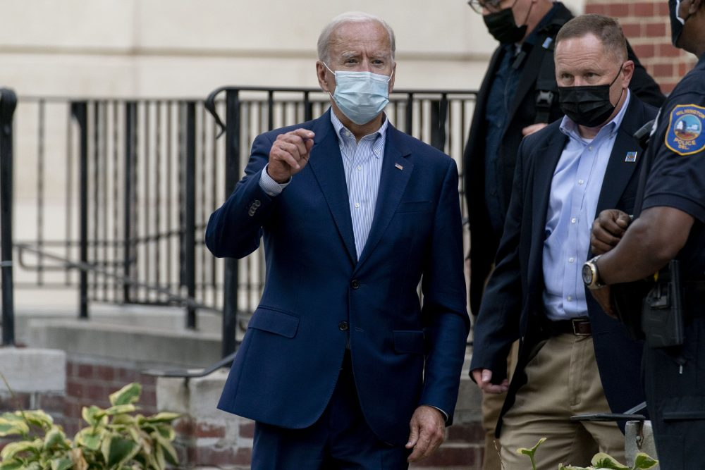 Democratic presidential candidate former Vice President Joe Biden speaks to the media as he leaves St. Joseph Catholic Church on Saturday in Wilmington, Del.