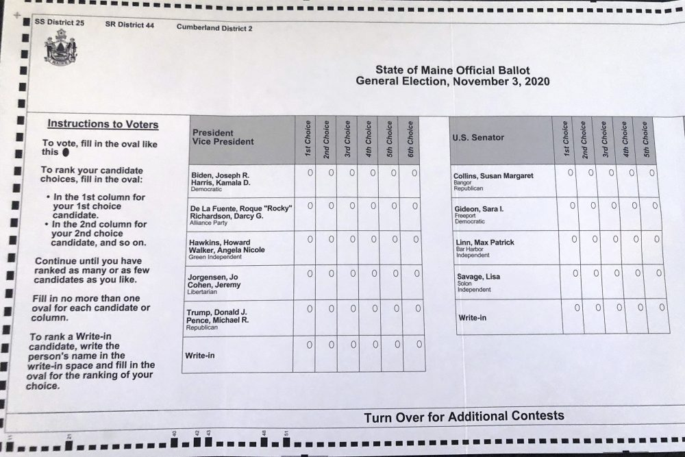 This absentee ballot for the 2020 Maine general election shows how Maine voters are allowed to rank presidential and senate candidates in order of ranked choice preference. It is the first time a ranked voting system is being used for a presidential race.