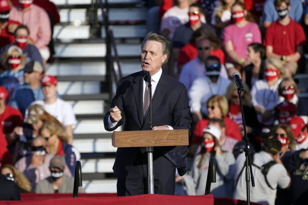 Republican Senator Perdue appears to mock Kamala Harris' name at Trump rally