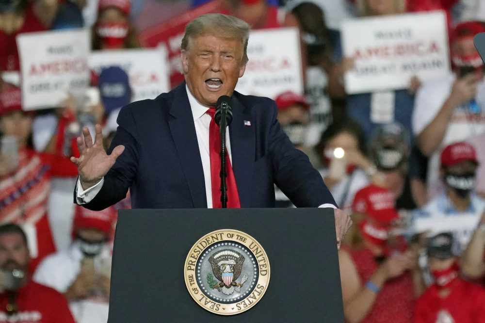 President Trump, shown at a campaign rally in Florida on Monday, has asked the U.S. Supreme Court to put a hold on a ruling that he turn over his tax records to a New York prosecutor.