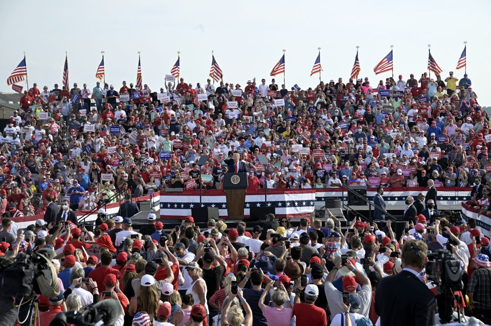 President Trump addresses supporters during a campaign rally Friday at the Ocala International Airport in Ocala, Fla.