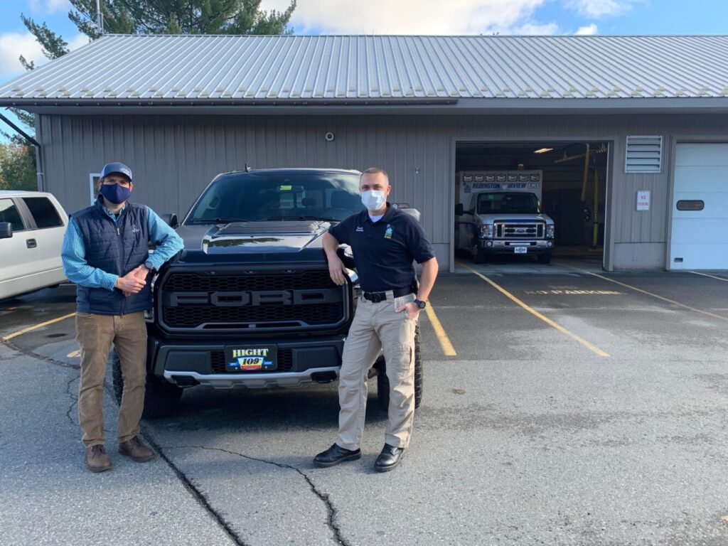Sam Hight, left, with Everett Flannery of Redington Fairview General Hospital at the main EMS station in Skowhegan.