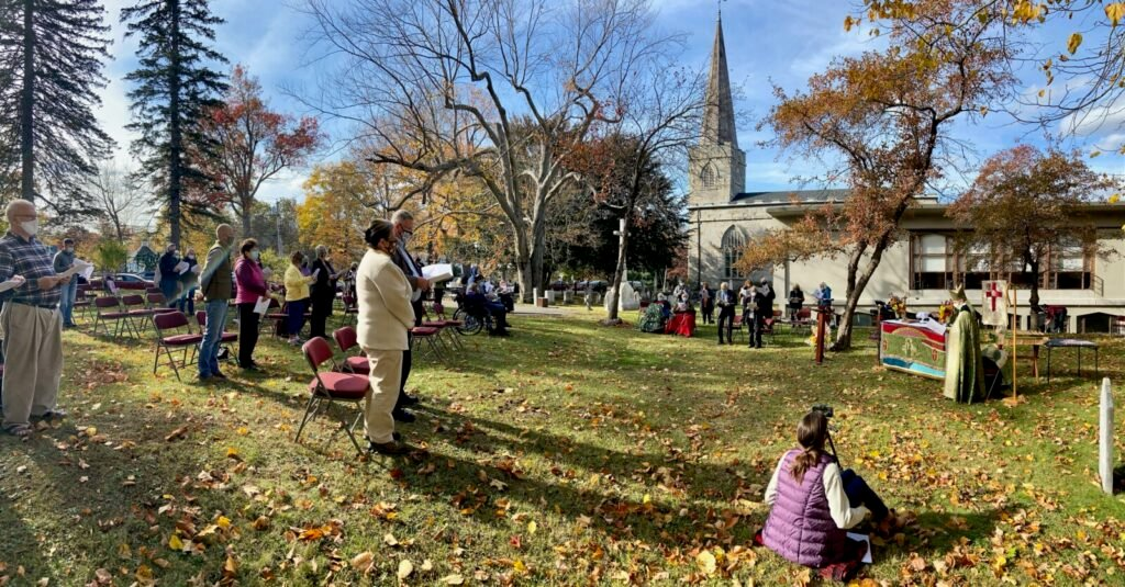 Members of Christ Episcopal Church's congregation gather in the church yard for a special ceremony held Sunday to celebrate the church's bicentennial.