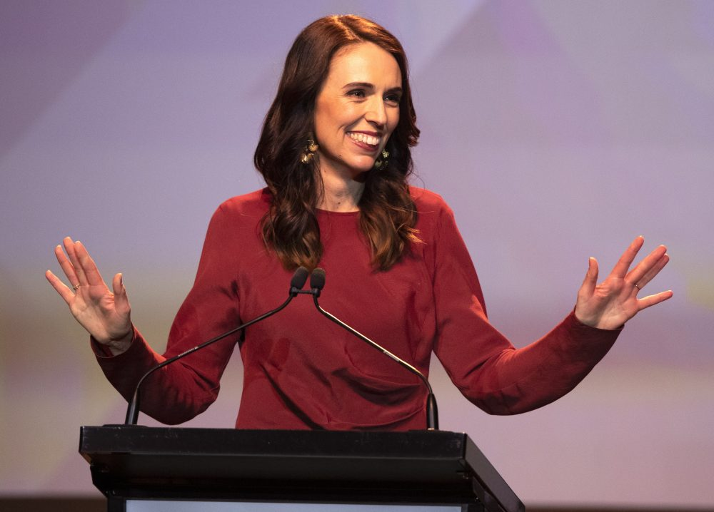 New Zealand Prime Minister Jacinda Ardern gives her victory speech to Labour Party members at an event in Auckland on Saturday.