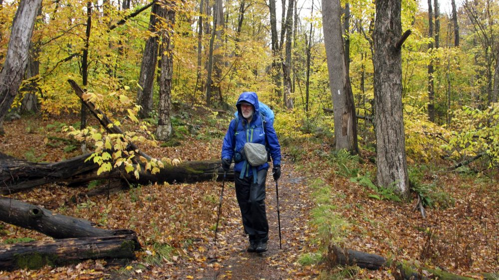 Artist Rob Mullen walks Long Trail, the country's oldest long-distance trail, in Manchester, Vt., on Tuesday.