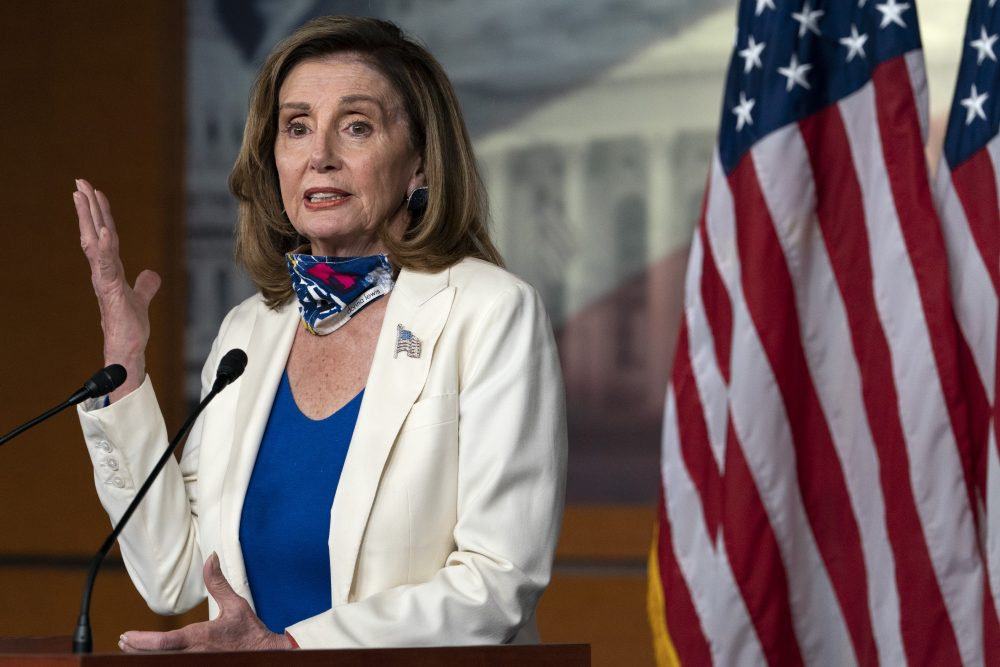 House Speaker Nancy Pelosi of Calif., speaks during a weekly news conference, Thursday on Capitol Hill in Washington.